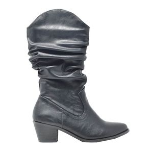 Women's Slouchy High Top Black Cowboy Boot